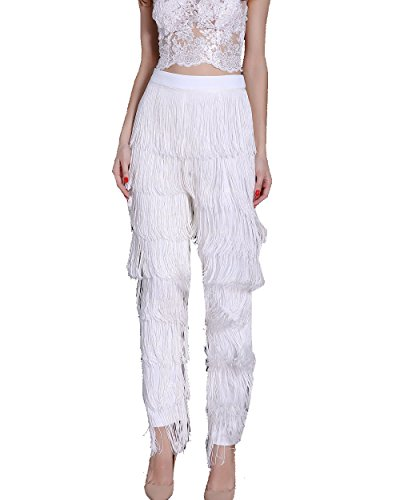 (Miss ord Women Fashion Tassels Ballroom Latin Tango Salsa Practice Performance Dance Pants White)