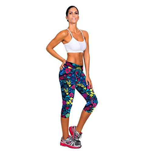 Sweatpants, Shensee Colorful High Waist Fitness Yoga Sport Pants Printed Stretch Cropped Leggings (L, dark blue)