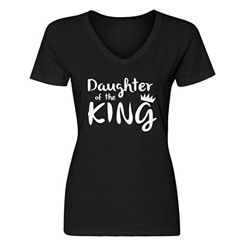 Vneck Daughter of The King Medium Black Womens T-Shirt ()