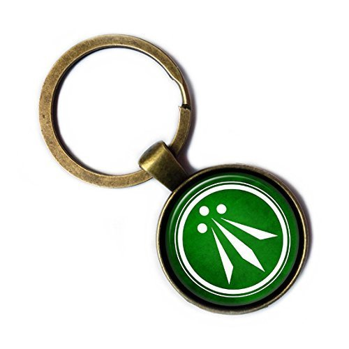 Celtic Symbol - The Awen Three Rays of Light - White on Green Bronze Keychain Keyring