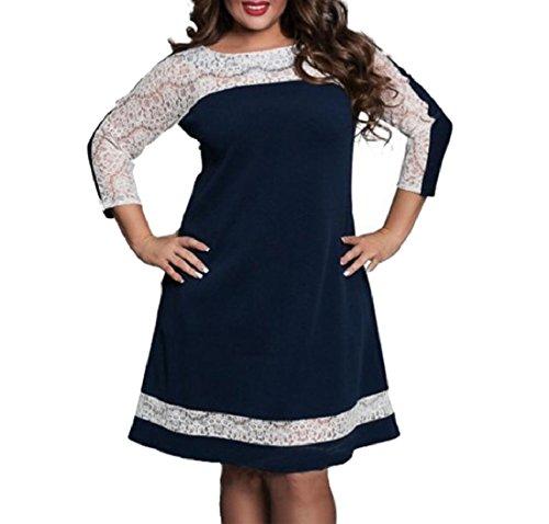 Size Blu Punto merletto Delle Cava Scuro Da Sexy Plus Vestito Donne Business Grazioso Partito Coolred qBIUwR
