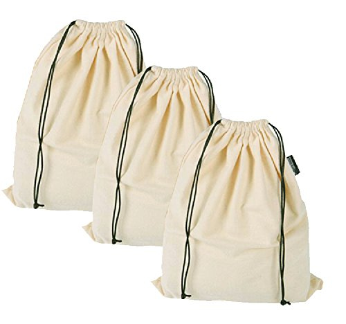 Misslo Set of 3 Cotton Breathable Dust-proof Drawstring Storage Pouch Multi-functional Bag. Pack 3 S from MISSLO