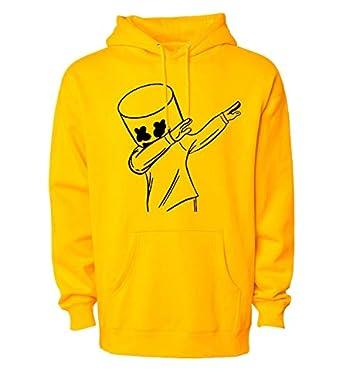 WearIndia Men's & Women's Cotton Hooded Hoodie (Marshmello Hoodies Yellow-M_Yellow_Medium)