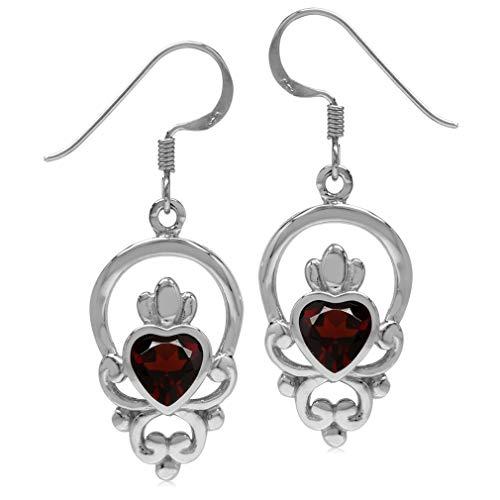- 1.68ct Natural Garnet 925 Sterling Silver Irish Claddagh Loyalty Symbol Earrings