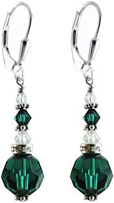 10mm Green Faceted Round Earrings made with Swarovski crystal Elements. Sterling Silver Lever-back.