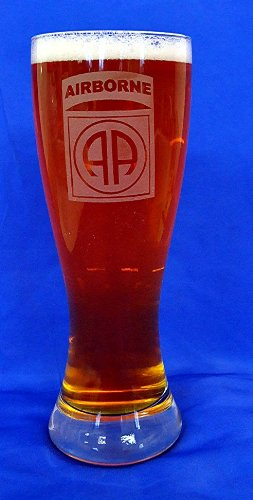 Custom Etched 82nd Airborne Emblem on 23 Oz Pilsner Glass Set of 2 ()