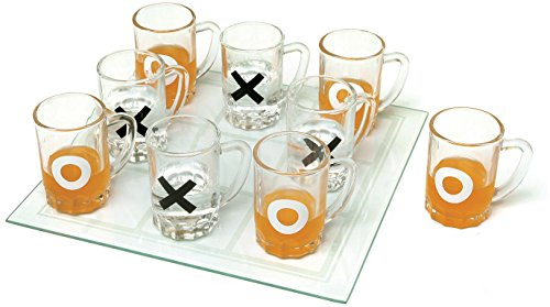 Home Essentials & Beyond Funville Tic Tac Toe with Shot Mugs, Clear ()