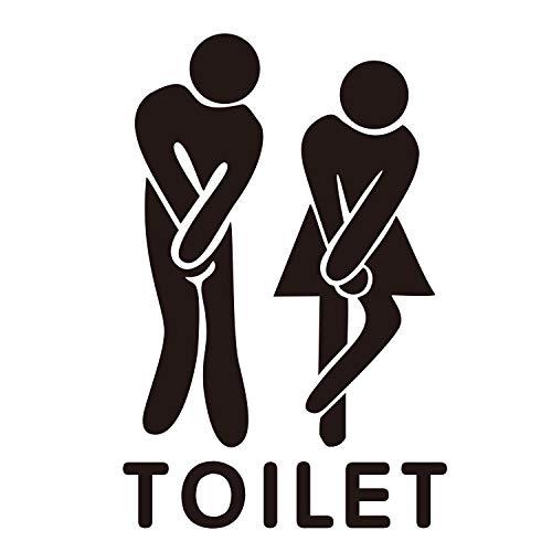 (always88 Man Woman Toilet Bathroom Washroom WC Decal Sticker PVC Removable Restroom Decor Art Decoration Waterproof Self-Adhesive Wall Stickers DIY 7.9x11.9inch (Style A))