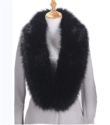 Faux Fur Collar Scarf Hood Collar Shawl Stole Neck Warmer for Winter Coat Jacket Parka (120cm/47.2