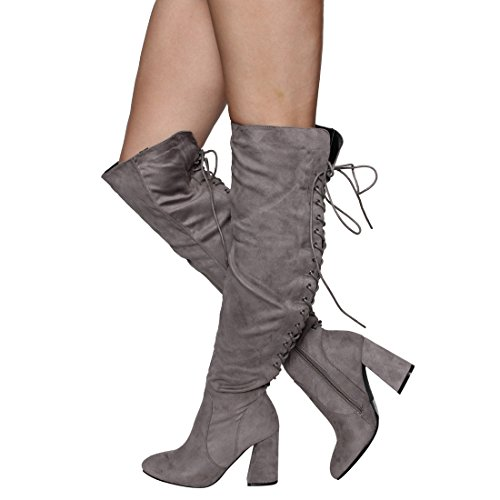 Beston FM30 Womens Lace Up Side Zipper Over Knee High Boots Half Size Small Grey FTEeCVlrRt