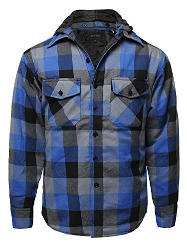 Casual Detachable Hoodie Plaid Flannel Quilted Button Jacket Royal 3XL