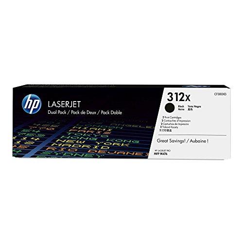 HP 312X (CF380X) Black Toner Cartridge High Yield, 2 Toner Cartridges(CF380XD)