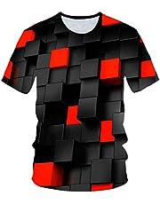 Macondoo Mens Casual Slim Fit Tee Short Sleeve Print Digital T Shirts