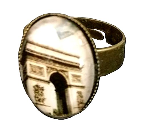 Arc de Triomphe Paris Media Glass Domed Adjustable Statement Ring - Famous Brothers Costumes