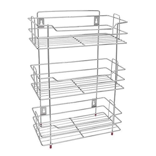 Plantex Stainless Steel Multipurpose 3 Tier Kitchen Rack/Storage Shelf/Cutlery Storage Rack/Dish Rack/Storage Rack for Kitchen (Chrome Finish)