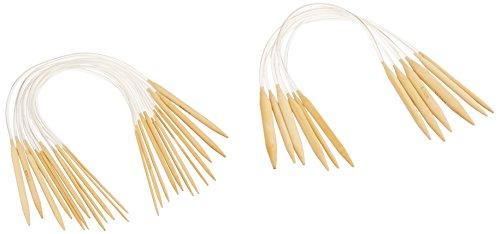 b832 Knitting Needles, Yellow and Silver