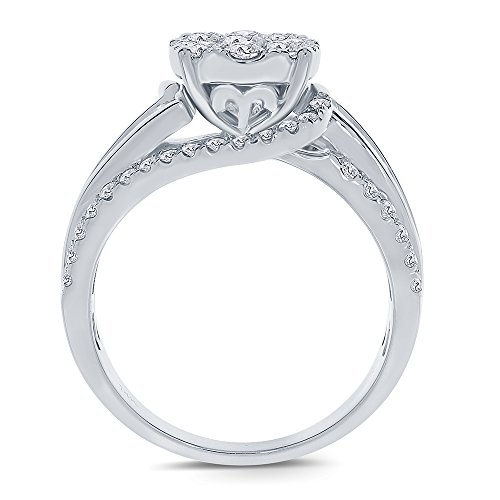 Real Diamond Engagement Ring 14K White Gold 1.65 TCW Center .16 Carat Diamond Ring Fine Diamond Jewelry by Wholesale Diamonds (Image #2)