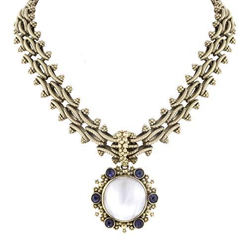 Stephen Dweck 18K Yellow Gold White MOP Purple Amethyst Necklace & Earrings Set