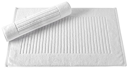 Classic Turkish Towels 2 Piece Luxury Bath Mat Set - 20 x 33 inch Soft and Absorbent Ribbed Bathroom Towel Mats Made with 100% Turkish Cotton (White)