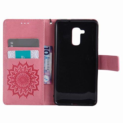Yiizy Huawei Honor 5c Custodia Cover, Sole Petali Design Sottile Flip Portafoglio PU Pelle Cuoio Copertura Shell Case Slot Schede Cavalletto Stile Libro Bumper Protettivo Borsa (Rosa)