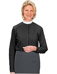 AT001 Womens Black Long Sleeve Clergy Shirt - Neckband Collar