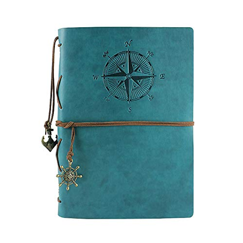 XRROOK PU Leather Refillable Travel Journal – Vintage Writing Traveler's Notebook with Unlined Blank Paper, Use as Sketchbook, Diary, Daily Planner,Drawing Pad – Perfect Gift,A6blue