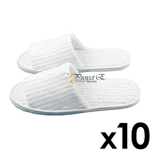 Coral Fleece Striped Slipper Non-Skid Home Salon Spa Hotel Open Toes Unisex Slippers - 10 Pairs - White by Project E Beauty