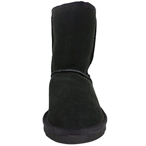 Grigio Metà Signore Pecora Di Pelle Viola Marrone Nero Genuina Cioccolato Marrone Bushga Boot Corto Polpaccio nero frqrI7Fwx