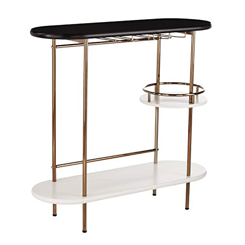Furniture HotSpot 3 Tier Bar Cart Entertainment Cart - Glassware Rack - Circular Shelf
