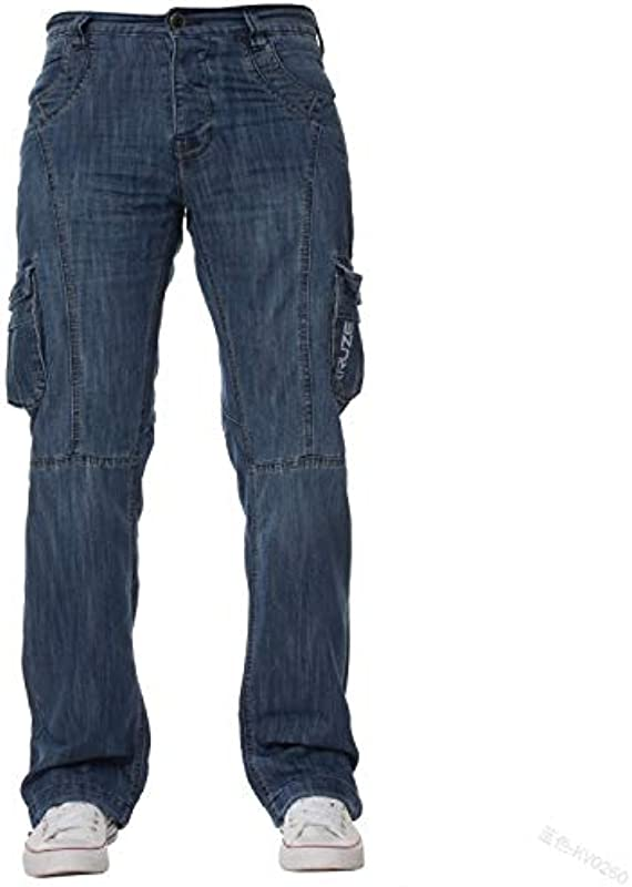 Frieed Męskie Jeans New Mens Designer Heavy Duty Multi Pocket Klapp Dunkle Ladung Kampf Denim-Jeans-Hosen mit Soft Touch (Color : 1, Size : L): Küche & Haushalt