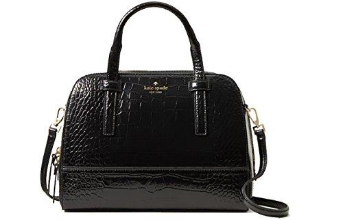Kate Spade Riverside Street Exotic Small Felix Embossed Leather Shoulder Bag Black