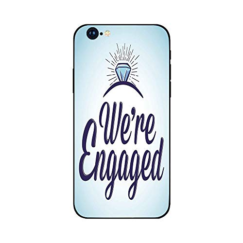 Phone Case Compatible with iphone6 Plus iphone6s Plus mobile phone protecting shell Brandnew Tempered Glass Backplane,Engagement Party Decorations,We Are Engaged Announcement Quote Wedding Ring,Sky Bl