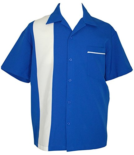 Bowling-Shirt-Mens-Short-Sleeve-Royal-Blue-White-BeRetro-BlueMoon