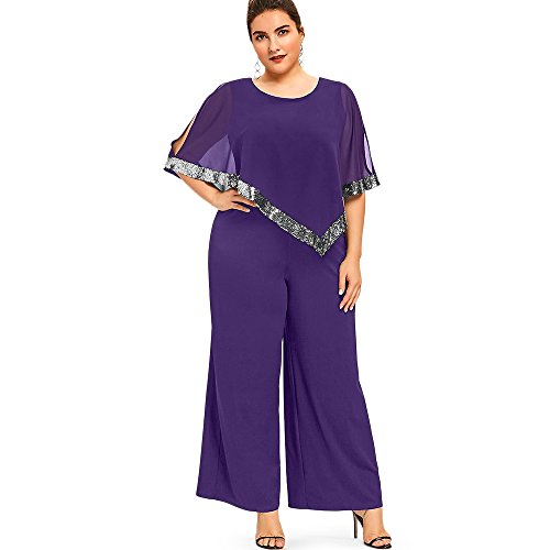 Nextmia Plus Size Cute Comfy Sequined Overlay Wide Leg Women Casual Jumpsuit from Nextmia