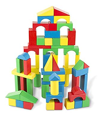 Melissa & Doug Wooden Building Blocks Set - 100 Blocks in 4 Colors and 9 Shapes by Melissa & Doug