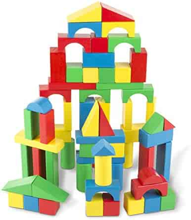 Melissa & Doug Wooden Building Blocks Set - 100 Blocks in 4 Colors and 9 Shapes