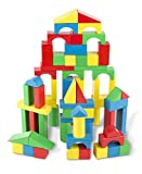 : Melissa & Doug Wooden Building Blocks Set - 100 Blocks in 4 Colors and 9 Shapes