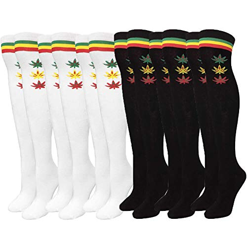 Over Knee High Socks Women Warm Dress Tube Stocking Cosplay Socks Thigh High Leg Warmer- 6 Pair Combo ((Rasta Marijuana Weed, White & Black) (Rasta Weed Socks)