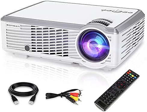 1080P HD Projector, Bonsen Video Projector with 157 inch Projection Display screen, 30,000 Hrs LED Lamp Life, Dwelling Theater Projector Appropriate with TV, HDMI, VGA, AV, USB and Distant Management