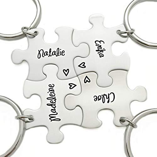 Bridesmaid Favor Gift - Puzzle Piece - Engraved Puzzle Piece Keychain - 1195 -