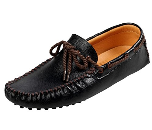 SK Studio Men's Work Driving Loafers Genuine Leather Shoes Black 0XHMi47GZk