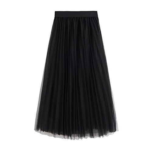 L&Z Women's Long Tulle Skirt Elastic Waist High Waist A-Line Pleated Midi Calf Skirts - Long Skirt Pleats Skirt