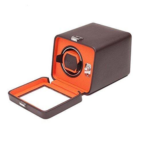 (Unisex WOLF Windsor Single Watch Winder w/Cover in Brown/Orange Faux)