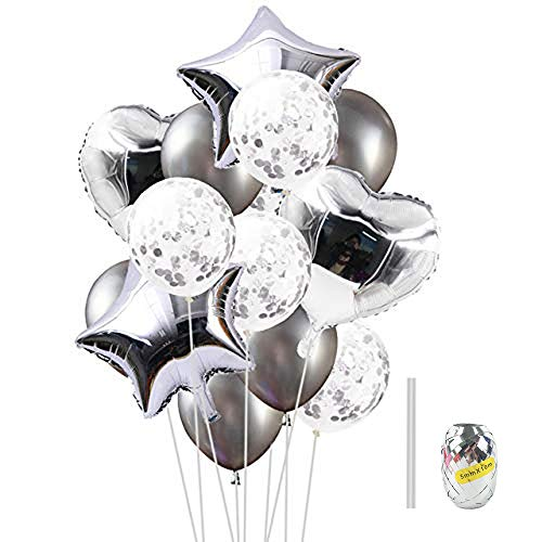 Huture 14PCS Silver Balloons Kit 18'' Foil Heart Balloons Pentagon Balloons 12'' Sequins Balloons Metallic Balloons for Baby Shower Christmas Birthday Carnival Graduation Party Decorations and Toys