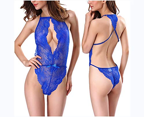 Encaje profundo V cuello colgado lencería conjunta, pijamas de sexy, onesies de pijamas gran tamaño, multicolor opcional,azul,L fee0e3