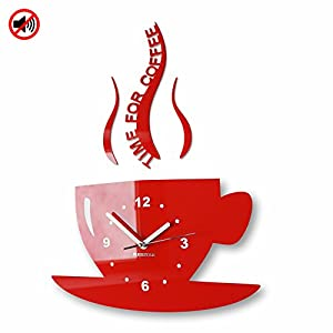 Modern kitchen wall clock CUP Red Amazoncouk Kitchen Home