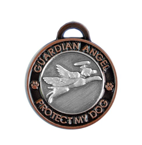 Luxepets Pet Collar Charm, Guardian Angel Dog, Antique Silver/Copper