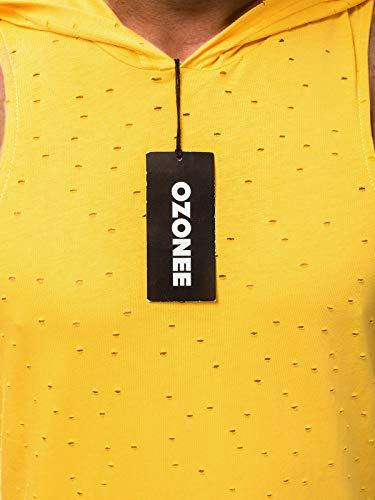 Senza Mad Top 706bo ozonee Giallo T Ozonee shirt Maniche Fitness Serbatoio Uomo Tankshirt Canotta Canottiera Cappuccio 2537 777 Mix HwvqO