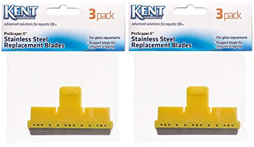 Kent Marine Glass Aquarium - (2 Pack) Kent Marine Stainless Steel Pro Scraper Blades, 3 Blades each