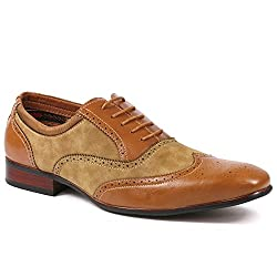 Ferro Aldo MFA-19122AL Men's Brown Lace Up Wing Tip Perforated Oxford Dress Shoes (6.5)